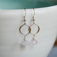 Rose quartz arabesque earrings