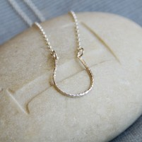 Silver hammered horseshoe necklace